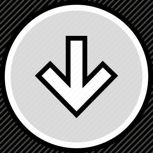 arrow, down, information icon
