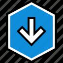 arrow, down, download, information icon