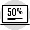 fifty, half, information, percent icon