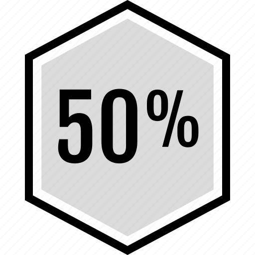 fifty, off, percent icon