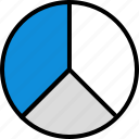 divide, graph, seo, three icon