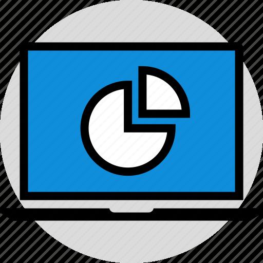 graph, information, laptop icon