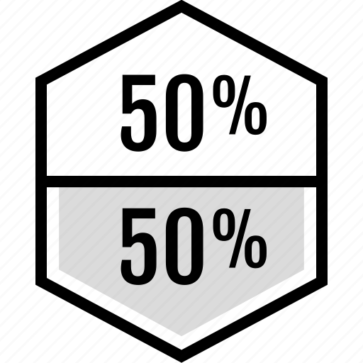 fifty, half, infographic, percent icon