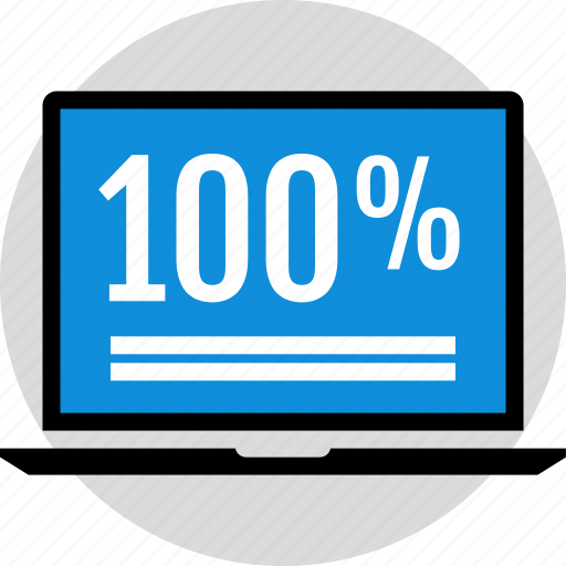 hundred, laptop, one, percent icon