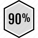 infographic, ninety, percent icon