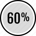 infographic, percent, sixty icon