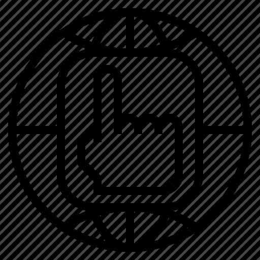 dns, domain, globe, hand, internet, name, system icon