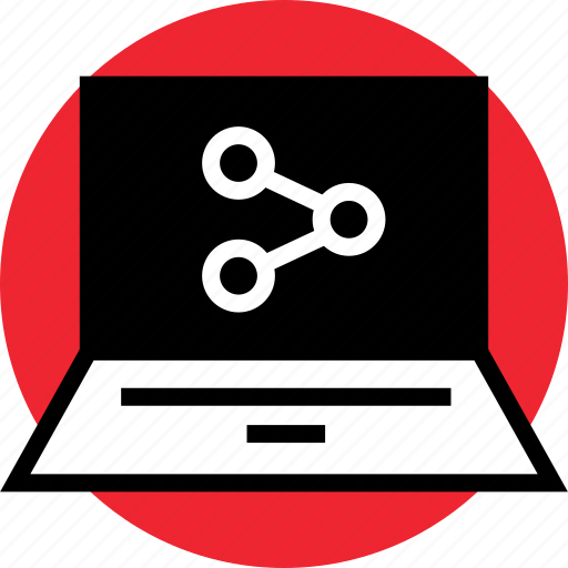 data, laptop, network, share icon