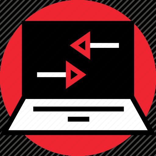 laptop, left, online, right icon