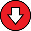 arrow, down, point icon