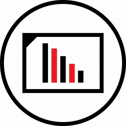 bars, data, down, infographic icon