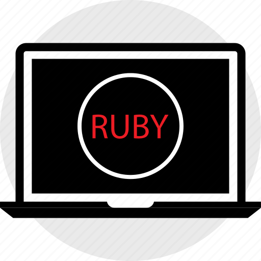 coding, developer, laptop, ruby icon