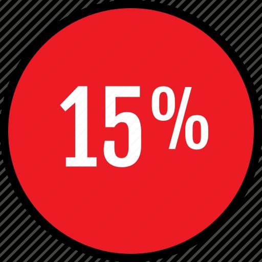 fifteen, percent, seo icon