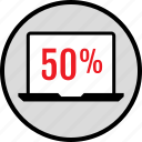fifty, laptop, percent, web icon
