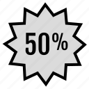 fifty, percent, web icon