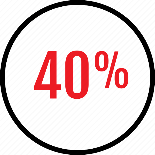 fourty, percent, rate, seo icon