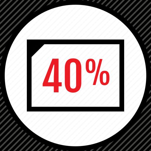 fourty, percent, web icon