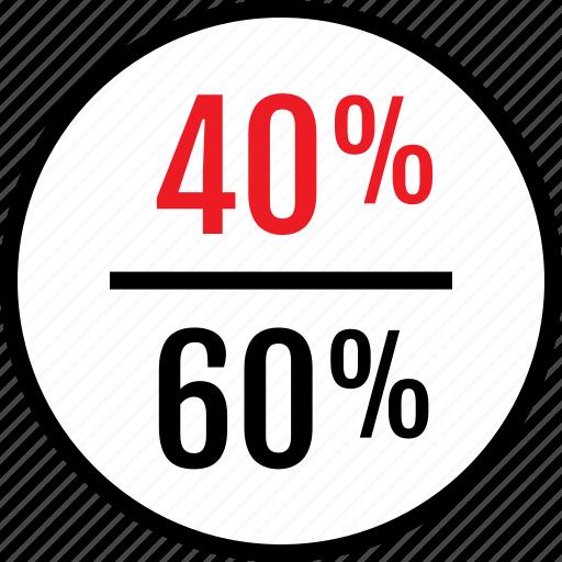 fourty, percent, sixty icon