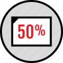 half, percent, rate, web icon