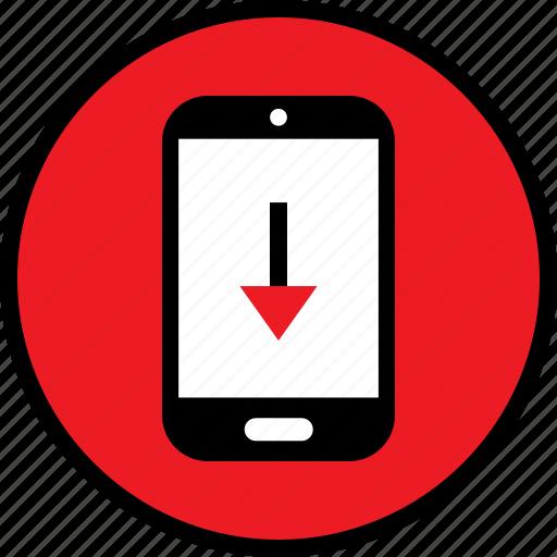 arrow, down, mobile icon