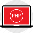 developer, laptop, php icon