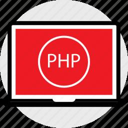 developer, laptop, php icon