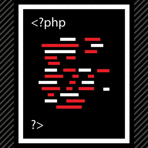 developer, lines, php, web icon