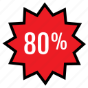 eighty, percent, rate, web icon