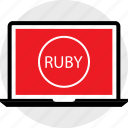 developer, laptop, ruby icon