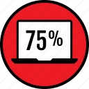 five, graphic, percent, seventy icon