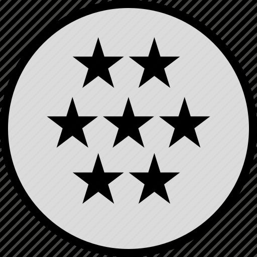 information, seven, stars icon