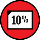 percent, rate, ten, web icon