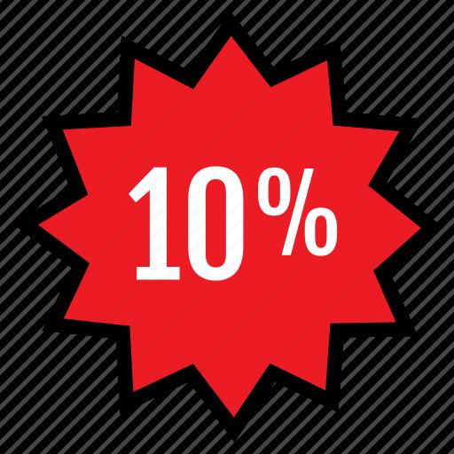 percent, tag, ten icon