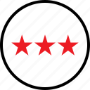 rate, stars, three icon