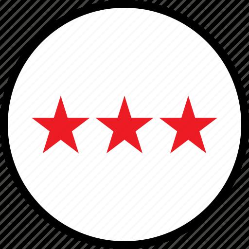 rate, stars, three icon