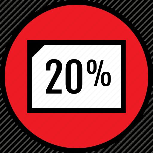 percent, rate, twenty icon