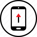 arrow, infographic, mobile, up icon