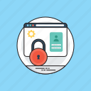 data integrity, data protection, database security, online information security, web login security icon