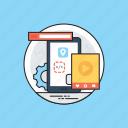 mobile application development, programming, app development, mobile ui, software construction icon