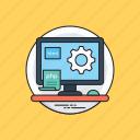 office desk, online work, web development, work environment, workplace icon