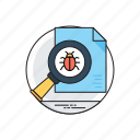 bug, inspection, magnifier, virus icon
