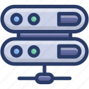 data center, data racks, data server, data storage, database, network server icon