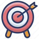 aim, archery, dartboard, objective, target icon