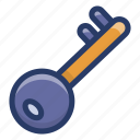 door key, lock, lock key, password, retro key icon