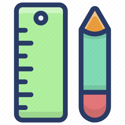 drawing tools, geometric tools, mathematics equipment, pencil and scale, stationery tools icon