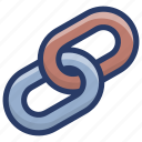 chain link, hyperlink, link building, linkage, url connection icon