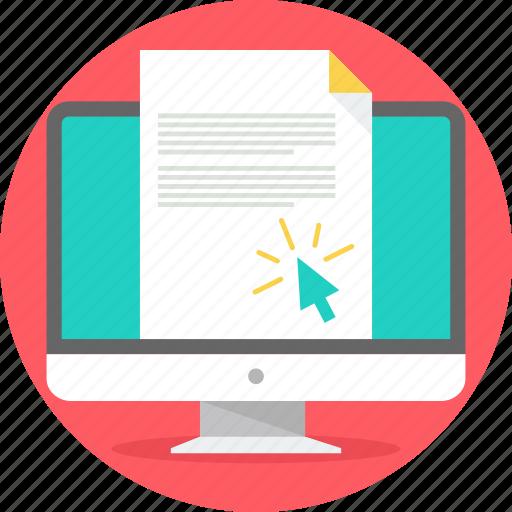 cursor, desktop, document, edocument, output, paper, printout icon