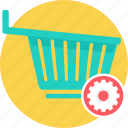 basket, cart, delivery, empty cart, sale, shopping, trolley icon