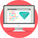 clean code, code, coding, design, diamond, language, programming icon
