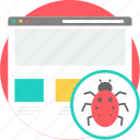 alert, bug, code, coding, development, error, insect icon